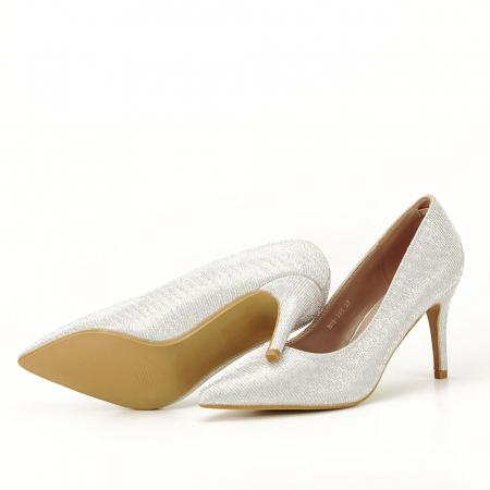 Pantofi argintii cu toc mic Oana [5]