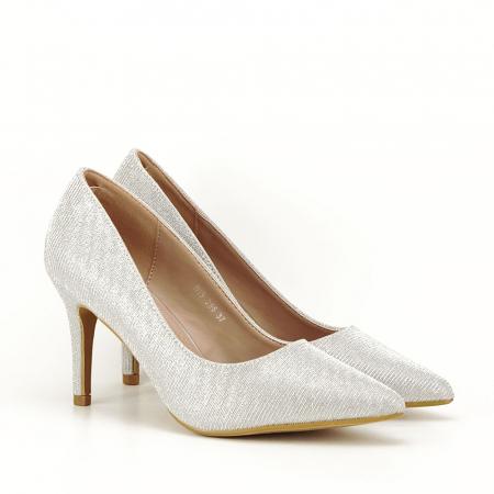 Pantofi argintii cu toc mic Oana [4]