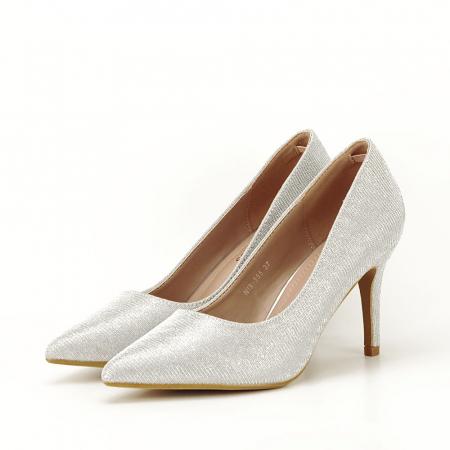 Pantofi argintii cu toc mic Oana [2]