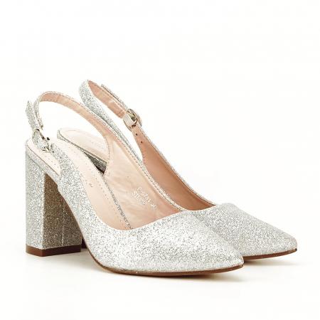 Pantofi argintii decupati Pamela [7]