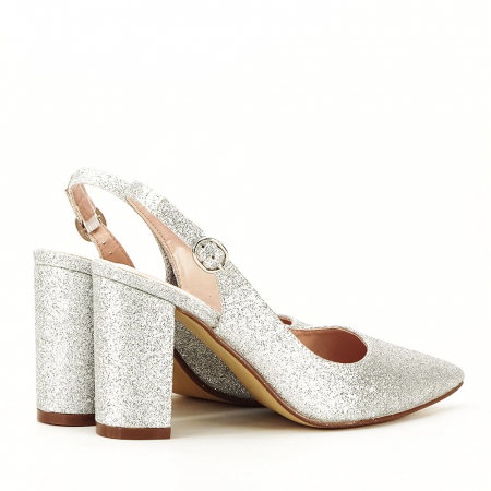 Pantofi argintii decupati Pamela [2]