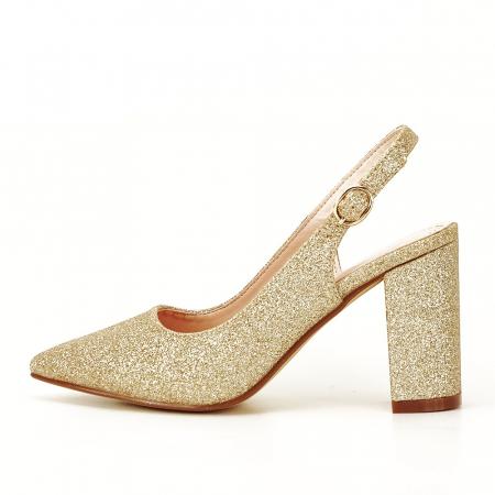 Pantofi aurii decupati Pamela0