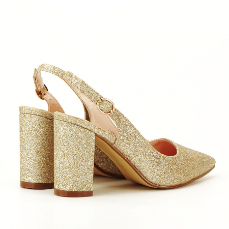 Pantofi aurii decupati Pamela1