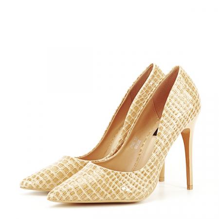 Pantofi bej cu imprimeu Alice [1]