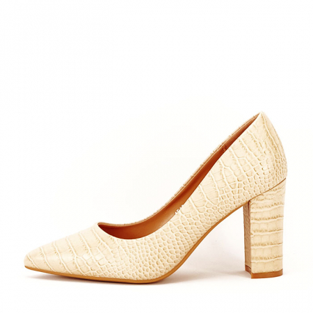 Pantofi bej cu imprimeu Dalma0