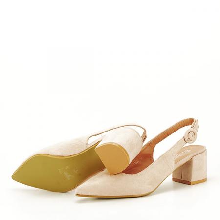 Pantofi bej cu toc mic Simina [7]