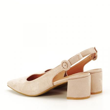 Pantofi bej cu toc mic Simina [3]
