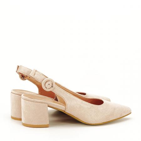 Pantofi bej cu toc mic Simina [4]