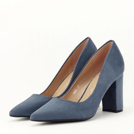 Pantofi cu toc albastru petrol Britney1