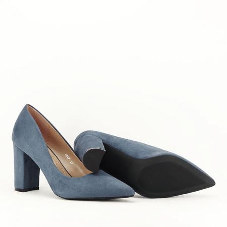 Pantofi cu toc albastru petrol Britney7