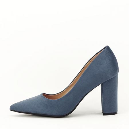 Pantofi cu toc albastru petrol Britney0