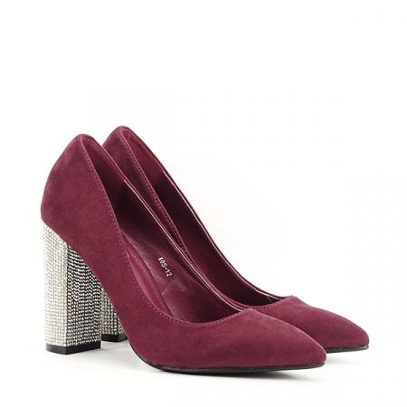 Pantofi bordo cu toc Debbie2