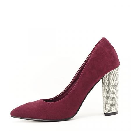 Pantofi bordo cu toc Debbie0