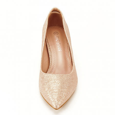 Pantofi champagne cu toc gros Aura5