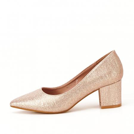 Pantofi champagne cu toc gros Aura0