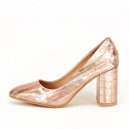 Pantofi champagne cu imprimeu reptila Fancy0