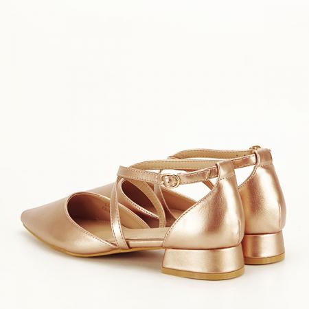 Pantofi champagne cu toc mic Carmen [3]