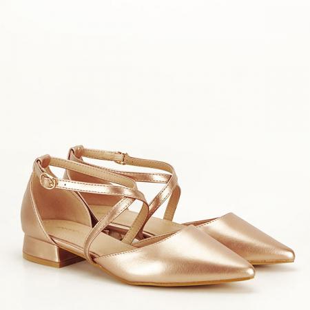Pantofi champagne cu toc mic Carmen [2]