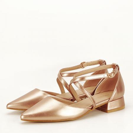 Pantofi champagne cu toc mic Carmen [0]