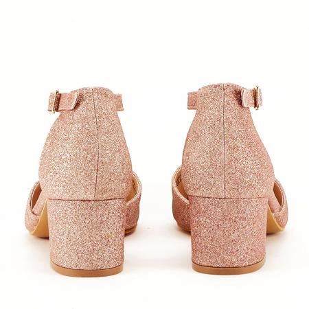 Pantofi champagne cu toc mic Coralia3