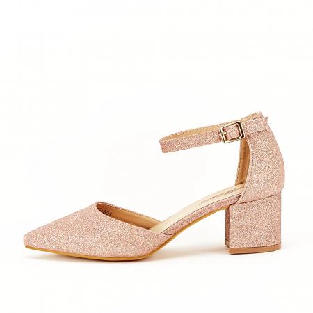 Pantofi champagne cu toc mic Coralia0
