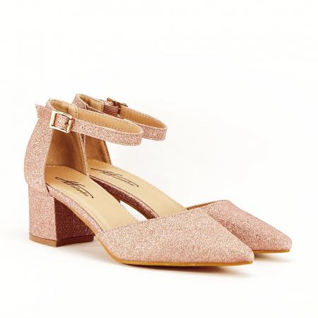 Pantofi champagne cu toc mic Coralia4