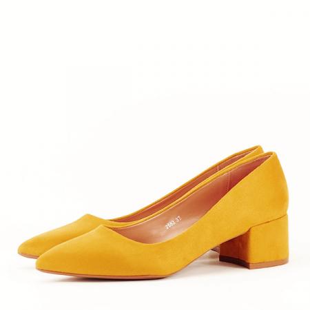 Pantofi galben mustar cu toc mic Carla [1]