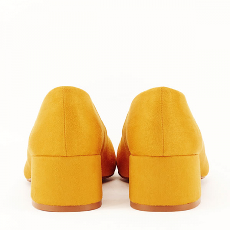Pantofi galben mustar cu toc mic Carla [6]