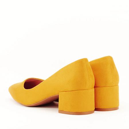 Pantofi galben mustar cu toc mic Carla [7]
