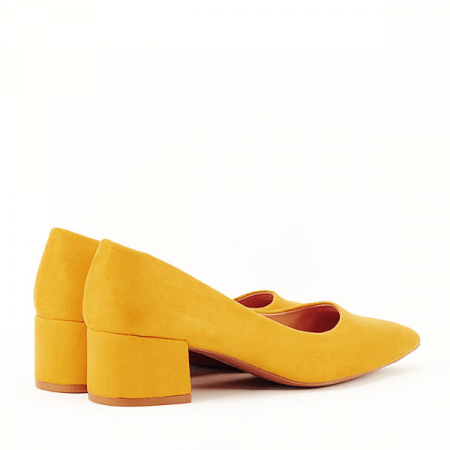 Pantofi galben mustar cu toc mic Carla [5]