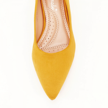 Pantofi galben mustar cu toc mic Carla [2]