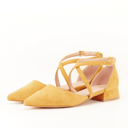 Pantofi galben mustar cu toc mic Carmen0