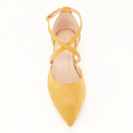 Pantofi galben mustar cu toc mic Carmen3