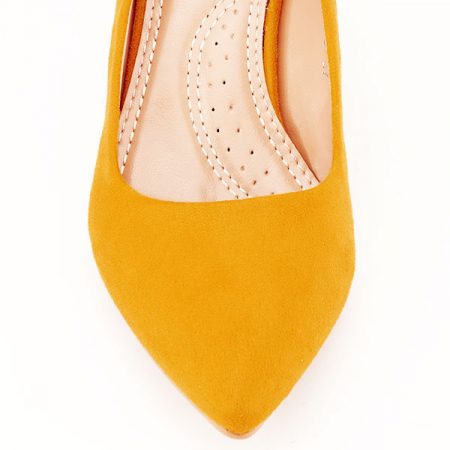 Pantofi galbeni cu toc gros Adelina6