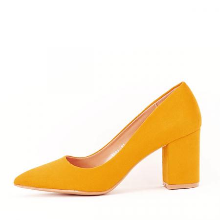Pantofi galbeni cu toc gros Adelina0