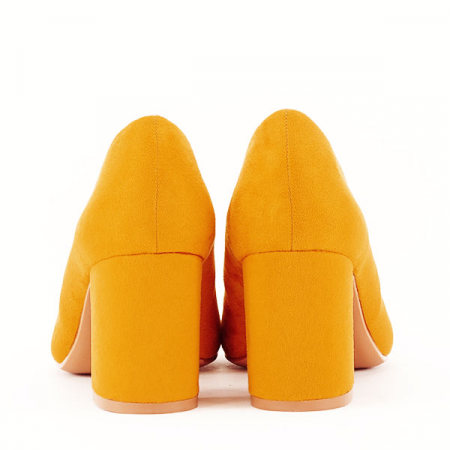 Pantofi galbeni cu toc gros Adelina5