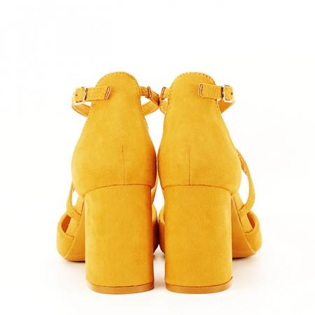 Pantofi galben mustar cu toc gros Amira [4]