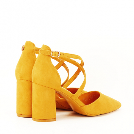 Pantofi galben mustar cu toc gros Amira [2]