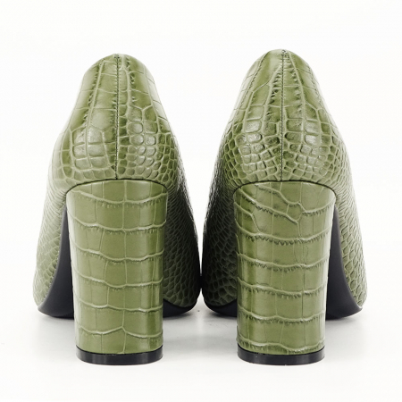 Pantofi kaki cu imprimeu Dalma2