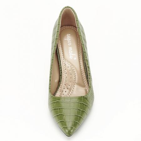 Pantofi kaki cu imprimeu Dalma6