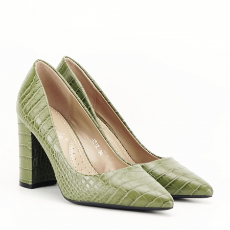 Pantofi kaki cu imprimeu Dalma1