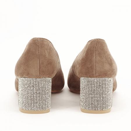 Pantofi maro deschis cu toc mic Ioana [5]