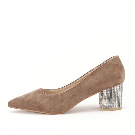 Pantofi maro deschis cu toc mic Ioana [0]