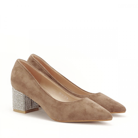Pantofi maro deschis cu toc mic Ioana [1]