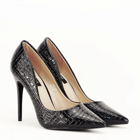 Pantofi negri cu imprimeu Alice [3]