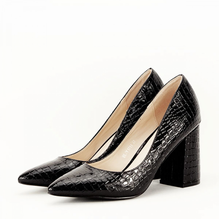 Pantofi negri cu imprimeu Bianca2