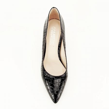 Pantofi negri cu imprimeu Bianca1