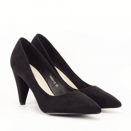 Pantofi negri cu toc conic Dion5