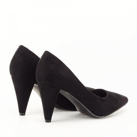 Pantofi negri cu toc conic Dion3