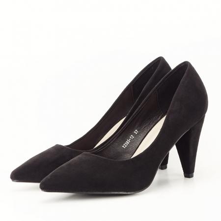 Pantofi negri cu toc conic Dion1
